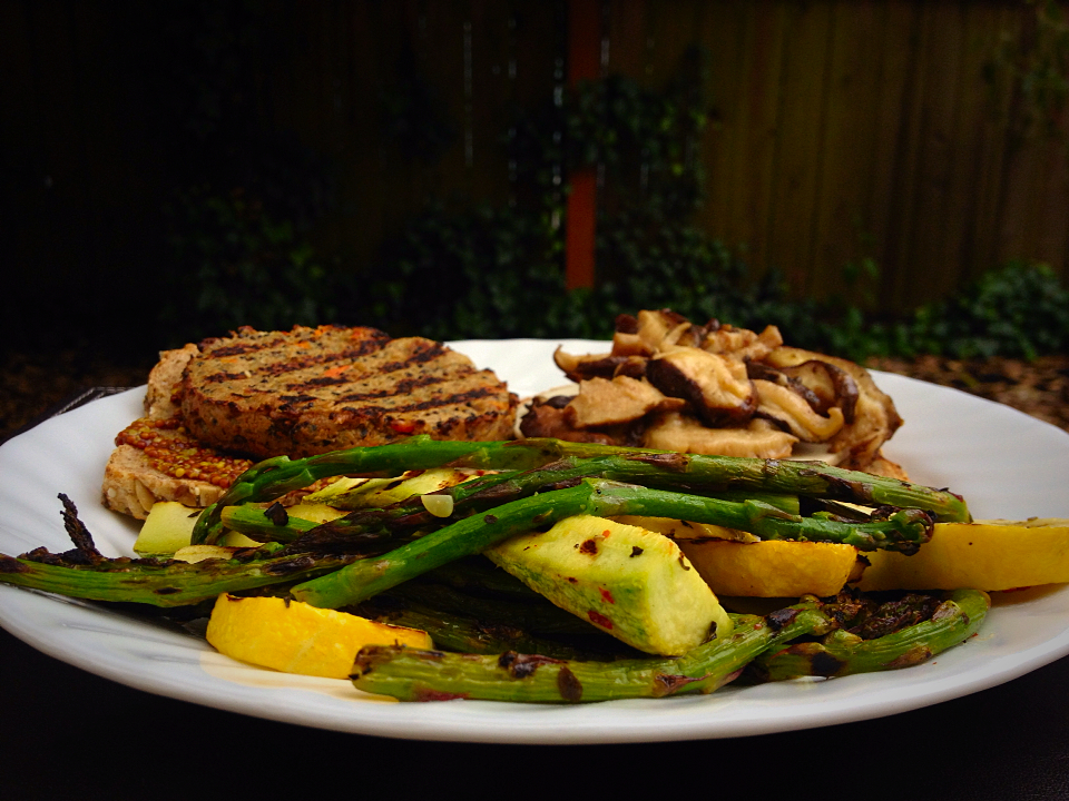 Grilled Shiitake Mushroom Sunshine Burger with Lemony Grilled Summer Veggies