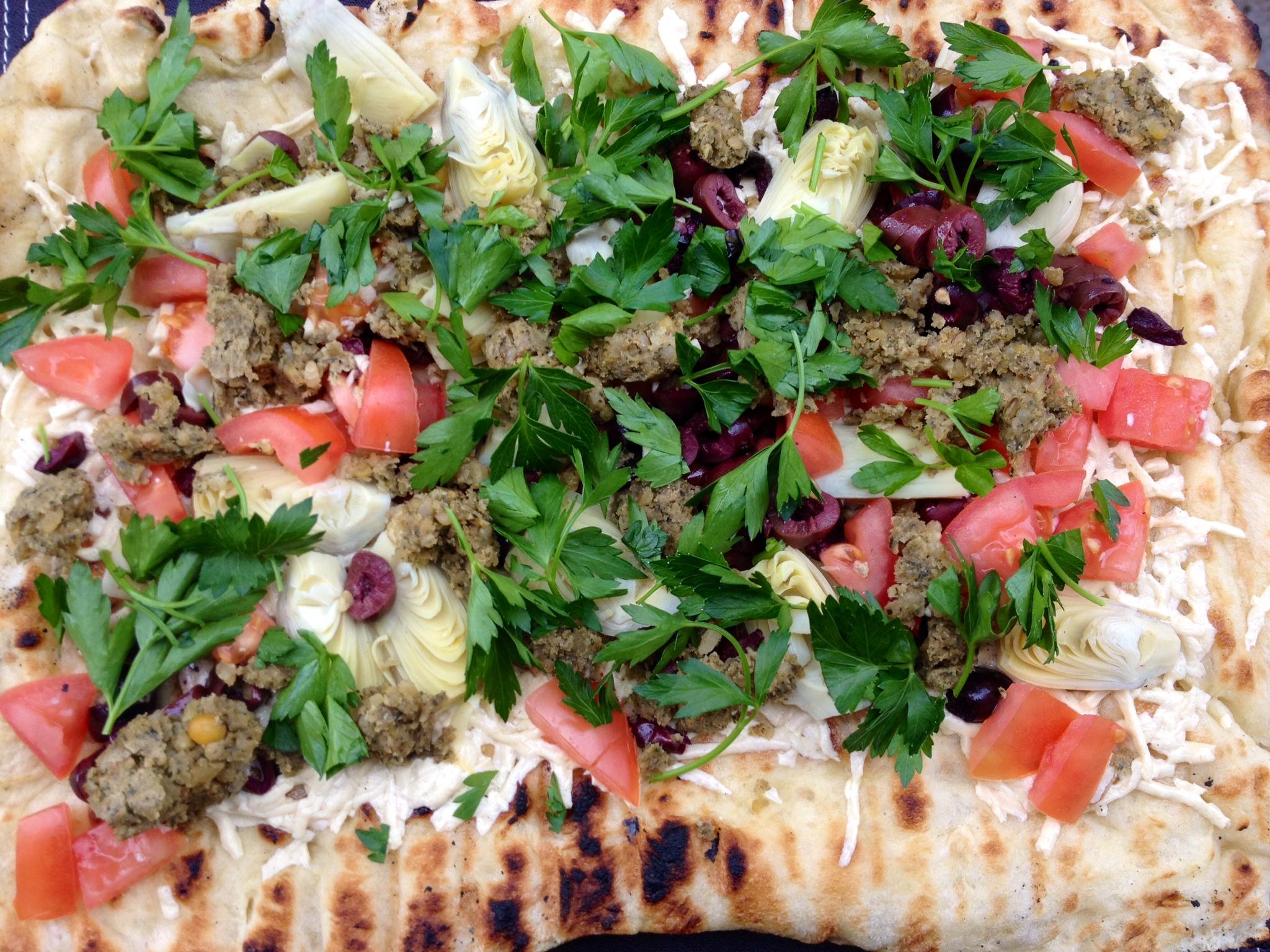 Grilled Mediterranean Falafel Sunshine Burger Flatbread
