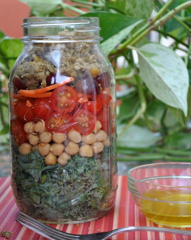Summer Salad-brations: Kale & Chickpea Mason Jar Salad