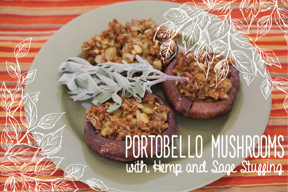 Portobello Mushrooms Stuffed with Sunshine Burgers Hemp and Sage Stuffing