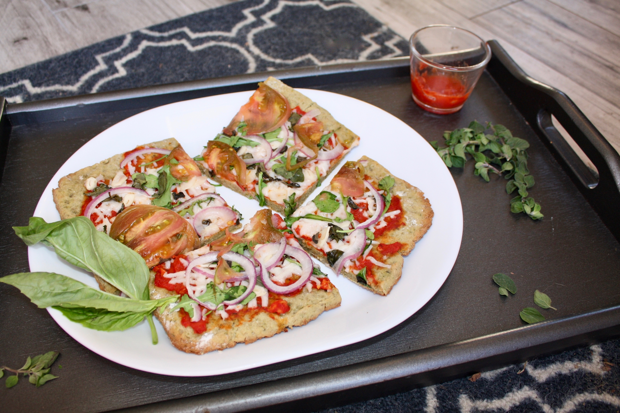 Arugula, Red Onion and Herb Pizza with Gluten Free Sunshine Burger Crust